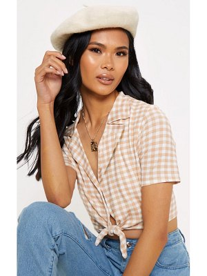 PrettyLittleThing gingham knot front crop shirt