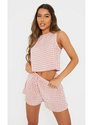 PrettyLittleThing gingham printed woven sleeveless top