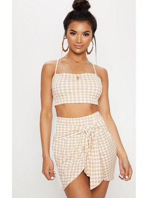 PrettyLittleThing gingham tie front mini skirt