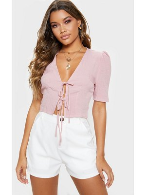 PrettyLittleThing gingham tie front short sleeve crop top