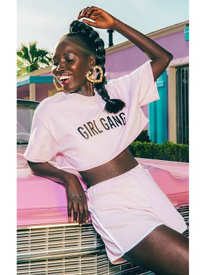PrettyLittleThing girl gang cropped t shirt baby pink