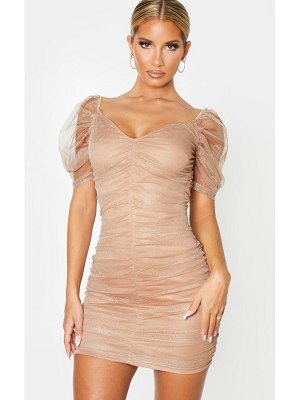 PrettyLittleThing glitter mesh ruched bodycon dress