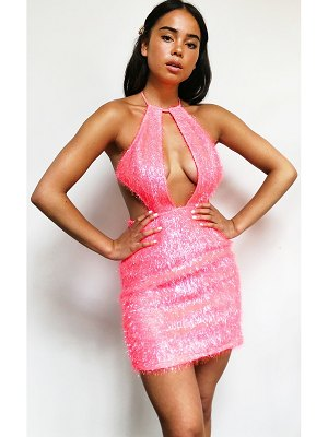 PrettyLittleThing glitter textured fringed halterneck cut out bodycon dress