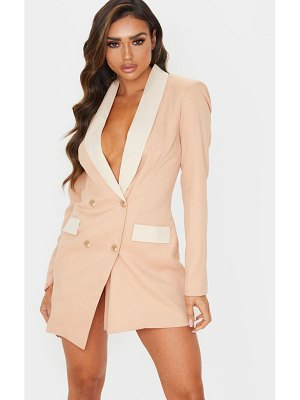PrettyLittleThing gold button contrast blazer dress