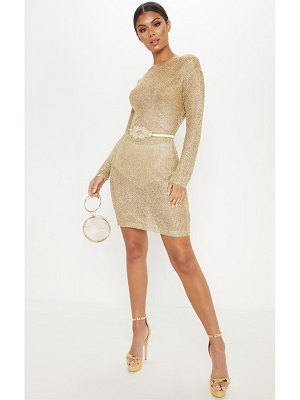 PrettyLittleThing gold plunge back metallic knitted dress