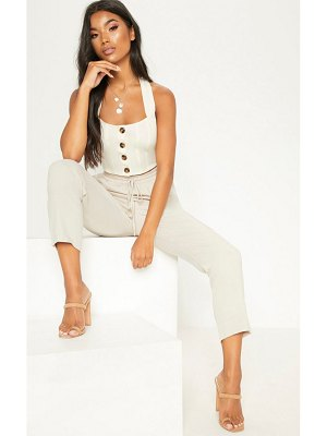PrettyLittleThing halterneck button down crop top