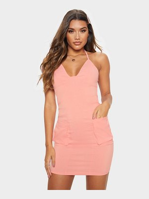 PrettyLittleThing halterneck pocket detail bodycon dress
