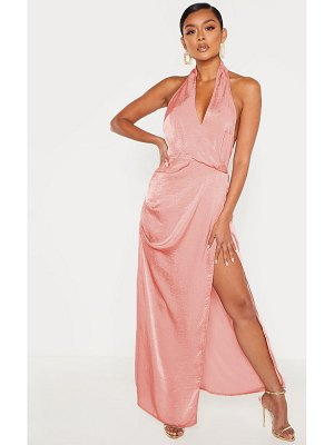 PrettyLittleThing hammered satin halterneck maxi dress