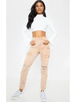 PrettyLittleThing heavy distressed cargo jean