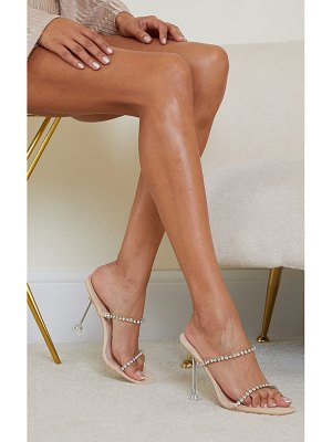PrettyLittleThing high cake stand jewel embellished twin strap mules