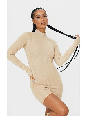 PrettyLittleThing high neck binding detail bodycon dress
