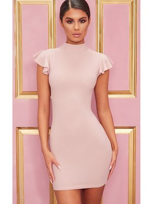 PrettyLittleThing high neck cap sleeve bodycon dress