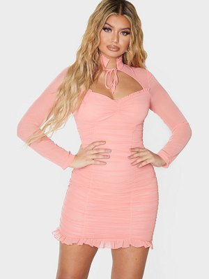 PrettyLittleThing high neck cut out ruched frill bodycon dress