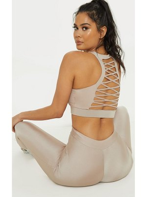 PrettyLittleThing high neck laced racer back gym top