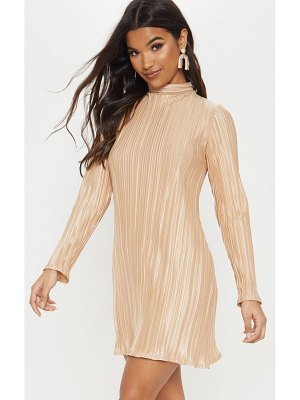 PrettyLittleThing high neck plisse swing dress