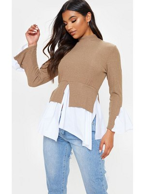 PrettyLittleThing high neck rib frill shirt