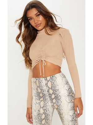 PrettyLittleThing high neck rib ruched front crop top