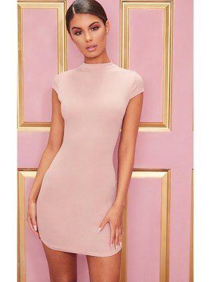 PrettyLittleThing high neck ribbed bodycon dress