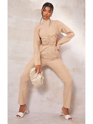 PrettyLittleThing high neck ruched cut out side jumpsuit
