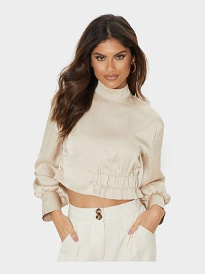 PrettyLittleThing high neck ruched hem blouse