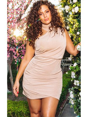 PrettyLittleThing high neck ruched side bodycon dress