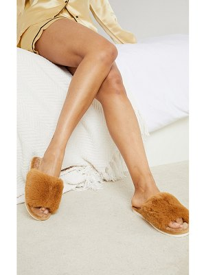 PrettyLittleThing home fluffy one strap quilted sole slippers
