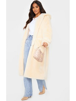 PrettyLittleThing hooded faux fur military coat