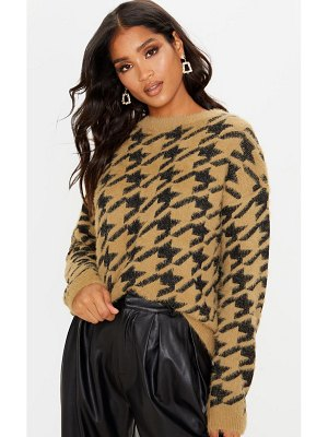 PrettyLittleThing houndstooth fluffy sweater