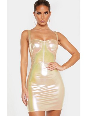 PrettyLittleThing iridescent metallic sleeveless binding detail bodycon dress