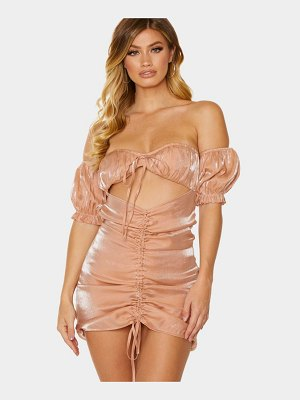 PrettyLittleThing iridescent ruched bardot bodycon dress