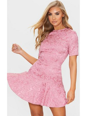 PrettyLittleThing jacquard frill hem short sleeve bodycon dress