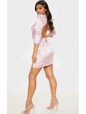 PrettyLittleThing jacquard high neck ruched bodycon dress