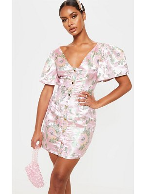 PrettyLittleThing jacquard puff sleeve button down bodycon dress