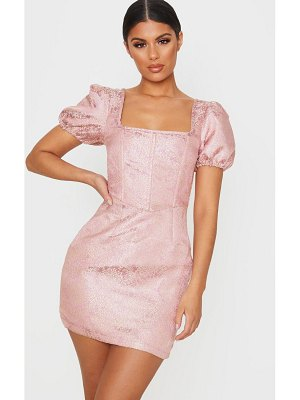 PrettyLittleThing jacquard short sleeve square neck bodycon dress