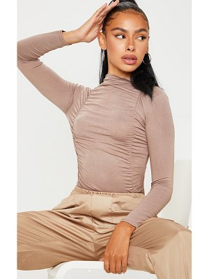 PrettyLittleThing jersey draped high neck bodysuit