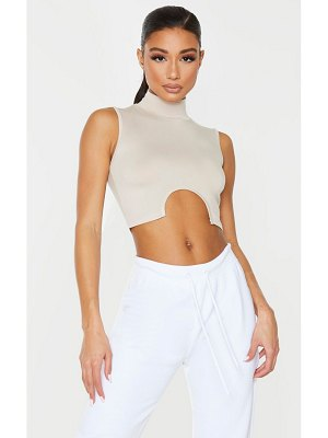 PrettyLittleThing jersey high neck cut out crop top