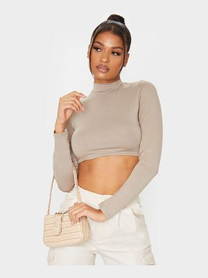 PrettyLittleThing jersey high neck long sleeve crop top
