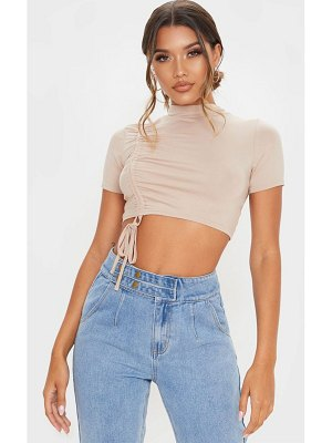 PrettyLittleThing jersey high neck ruched crop top