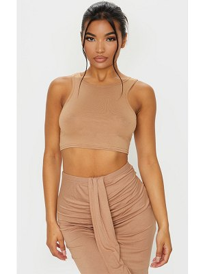 PrettyLittleThing jersey high neck sleeveless crop top
