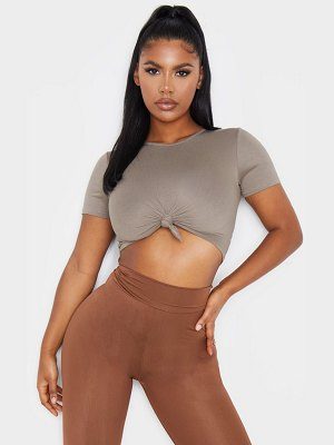PrettyLittleThing jersey knot front crop t shirt