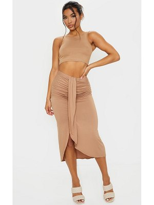 PrettyLittleThing jersey panel front midi skirt