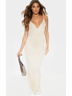 PrettyLittleThing jersey plunge strappy maxi dress
