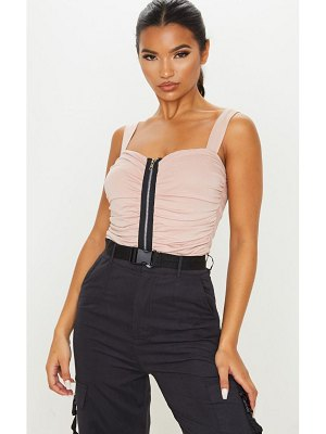 PrettyLittleThing jersey ruched zip front bodysuit
