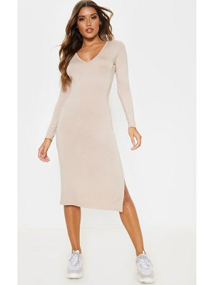 PrettyLittleThing jersey split side long sleeve midi dress