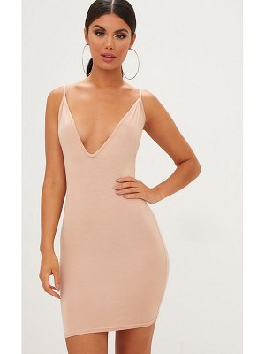 PrettyLittleThing jersey strappy plunge bodycon dress