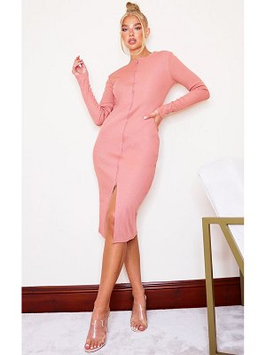 PrettyLittleThing jumbo rib double zip midi dress