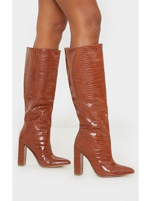 PrettyLittleThing knee high point block heel boot