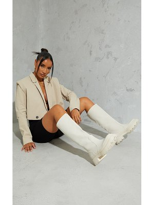 PrettyLittleThing knee high rubberised boots