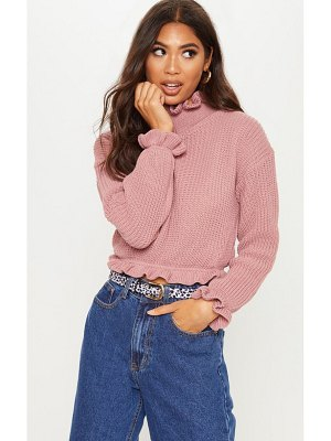 PrettyLittleThing knit high neck ruffle trim crop sweater