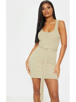 PrettyLittleThing knitted tie detail bodycon dress